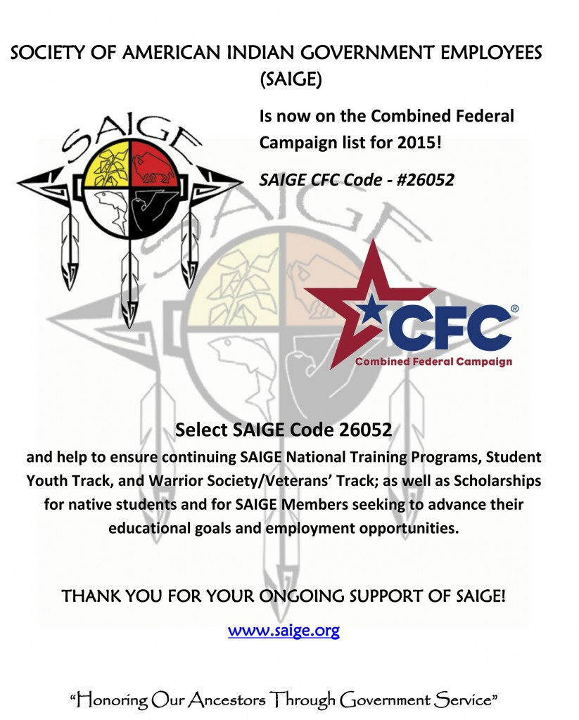 SAIGE IS ON THE CFC!  PLEDGE TODAY