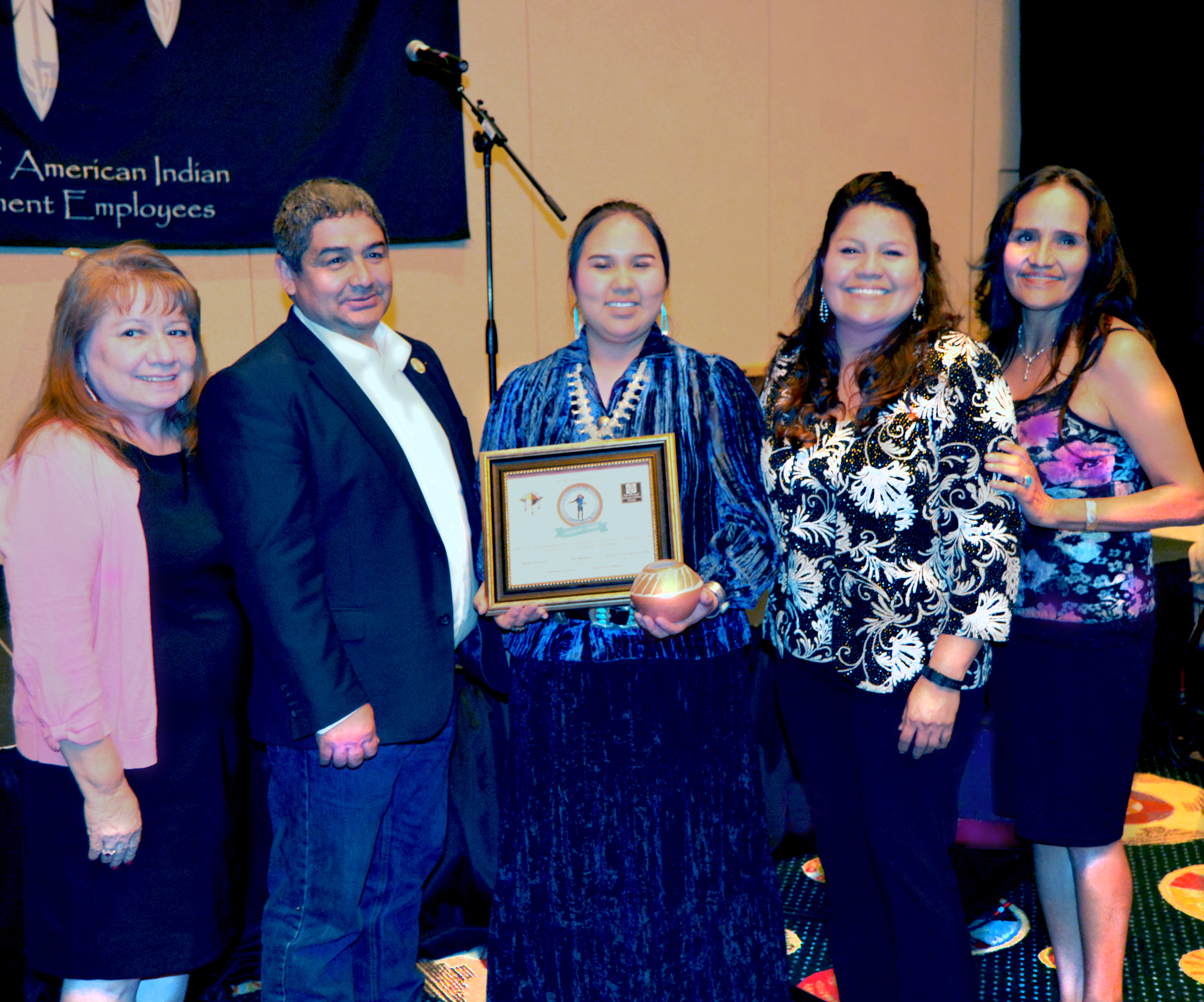 Jasmine Jishie -First Dallas Peterman Youth Leadership Award Winner, with Mr. & Mrs. Peterman, family friend and Youth Program Director, JoAnn Brant (Far Left)