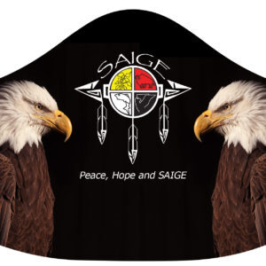 PPE mask w/ SAIGE logo & 2 eagles facing it